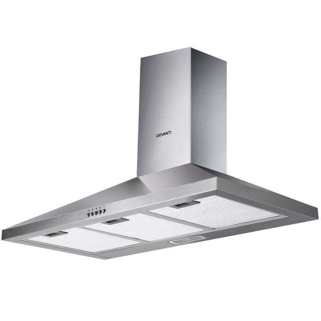 Devanti Range Hood 90cm 900mm Kitchen Canopy Stainless Steel Rangehood Wall Mount
