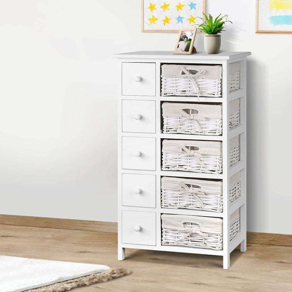 Artiss 5 Basket Storage Drawers - White