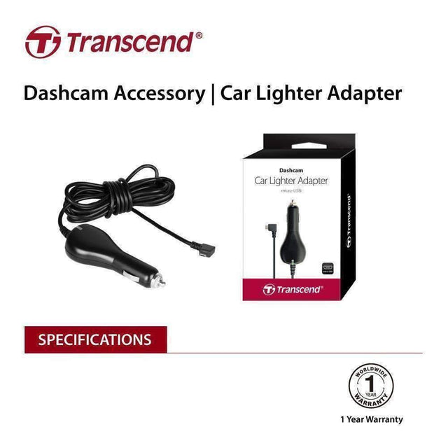TRANSCEND TS-DPL2  Car Lighter Adapter for DrivePro, Micro-B (For DP230 / DP130 / DP110) - kartcamel.com.au