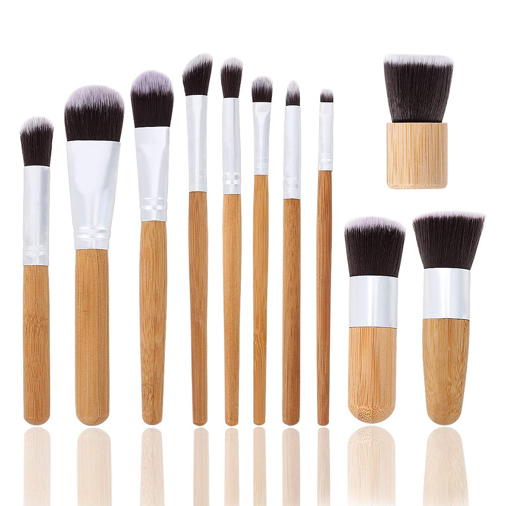 Bamboo Make up Brush set (11 pcs) FREE Travel Pouch - Ecofrenli.com