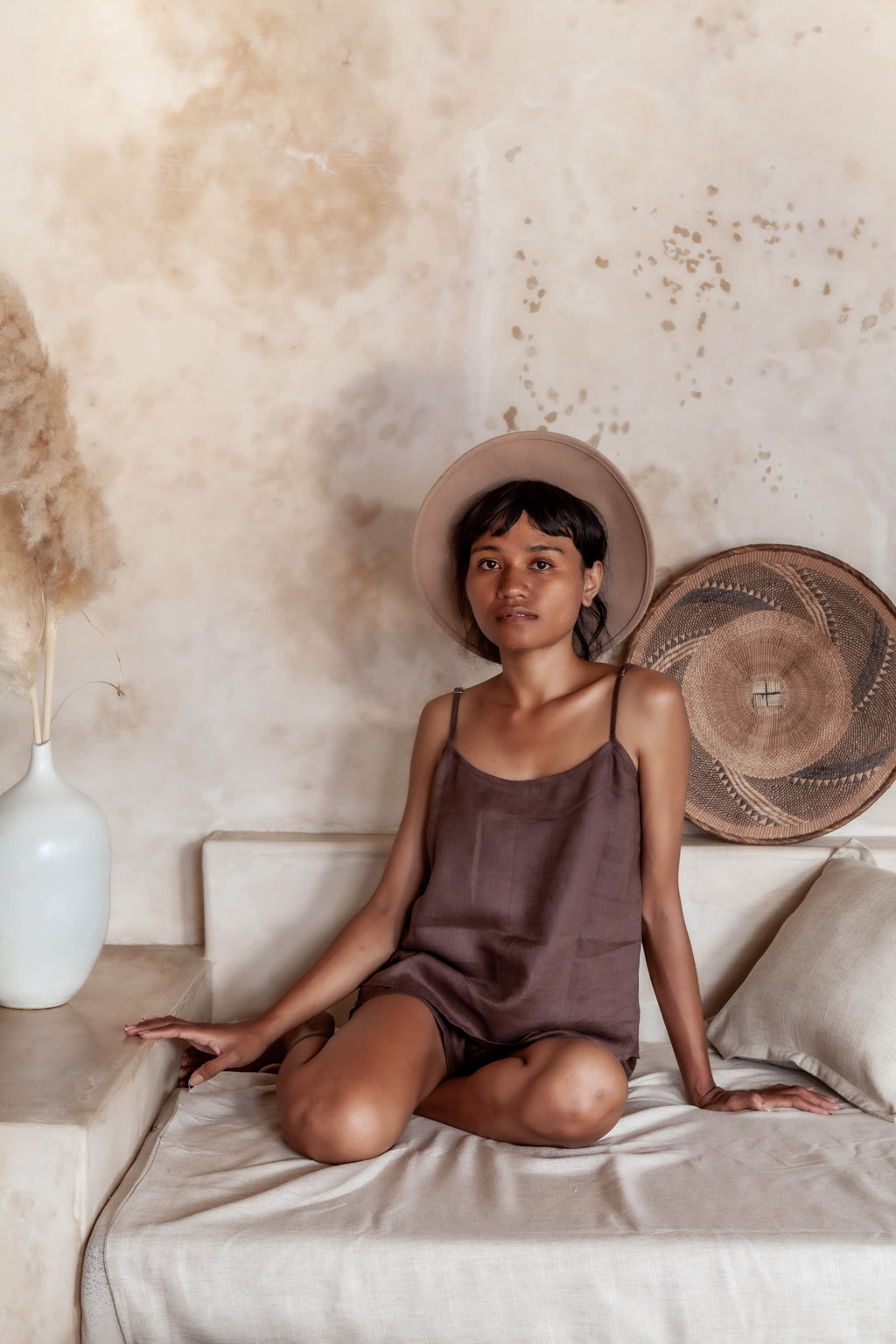 """Sleeping Culture"" Linen Lounge wear Top & Short - Ecofrenli.com"