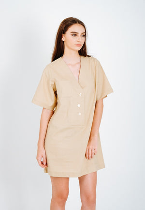 Linen de Creme Shirt dress - Ecofrenli.com