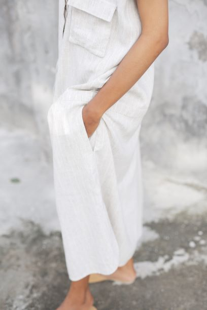 """Sleeping Culture"" Stripy Linen Dress for Women - Ecofrenli.com"