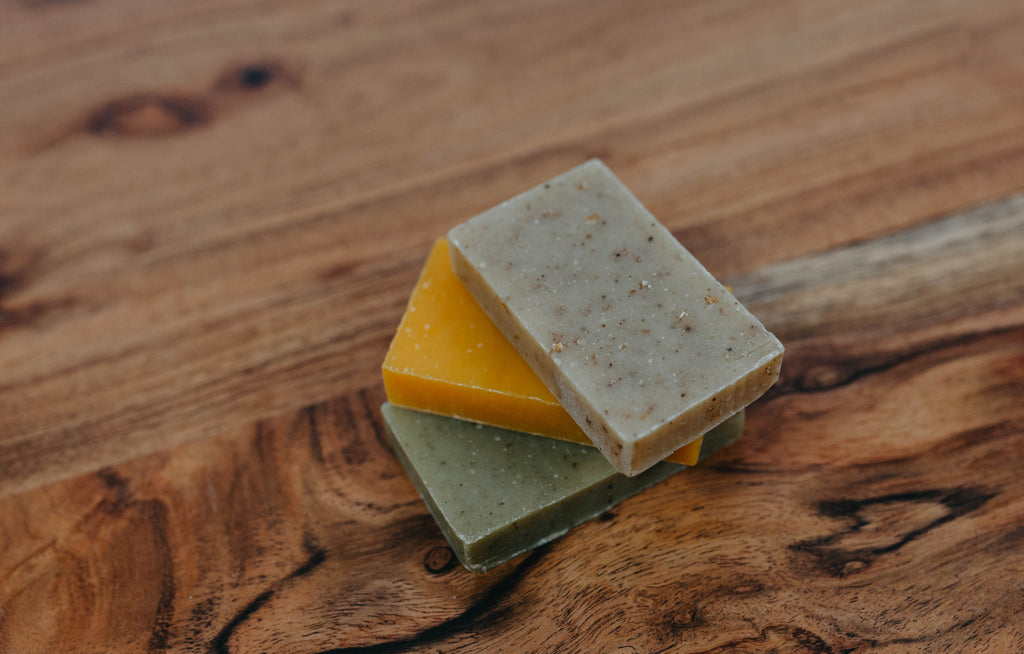 Travel Size 3pck Citrus Lavender, Peppermint Leaf and Oatmeal Spice Handmade Soaps Certified Organic - simple pearls
