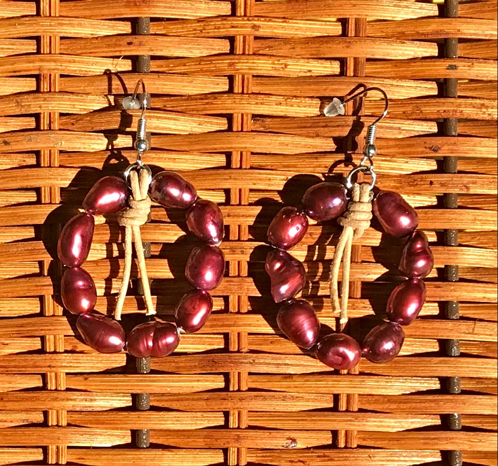 Handcrafted Crimson Freshwater Potato Pearl Hoop Earrings - simple pearls