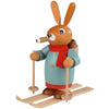 Smoking man Easter bunny on Skis hand-painted, 6.3x7.1 inches - GermanChristmasDreams