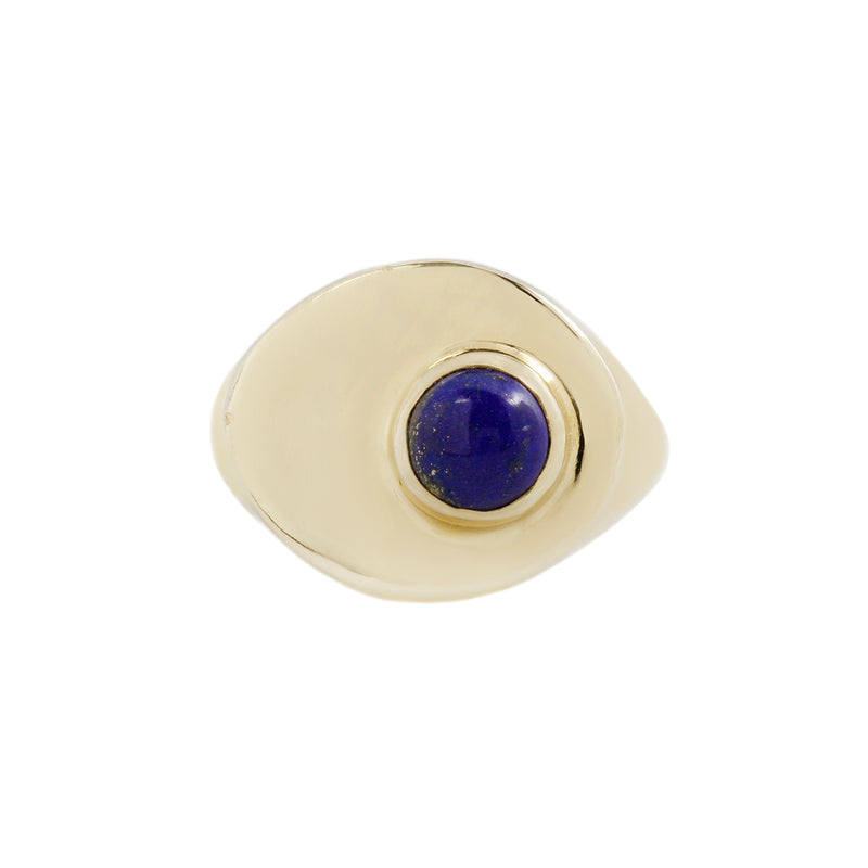 SIZE 6 - STRAND RING - BRASS/LAPIS