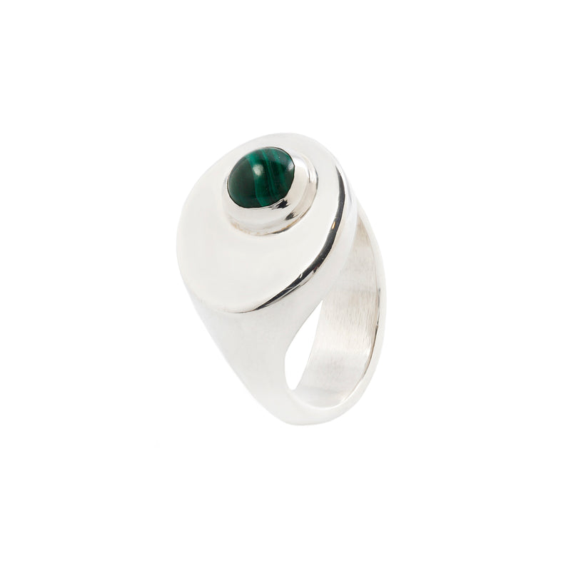 SIZE 7 - STRAND RING - STERLING SILVER/MALACHITE