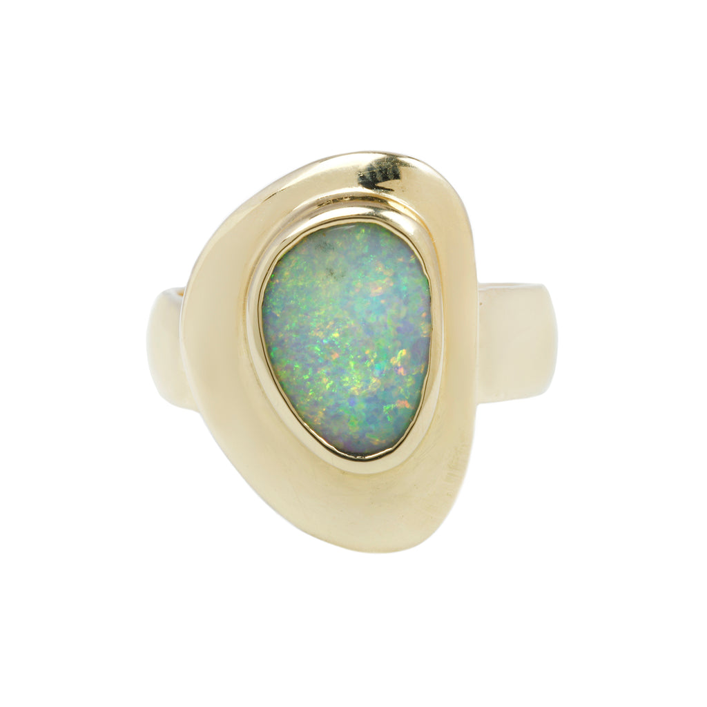 PUDDLE RING - 14K GOLD & AUSTRALIAN OPAL