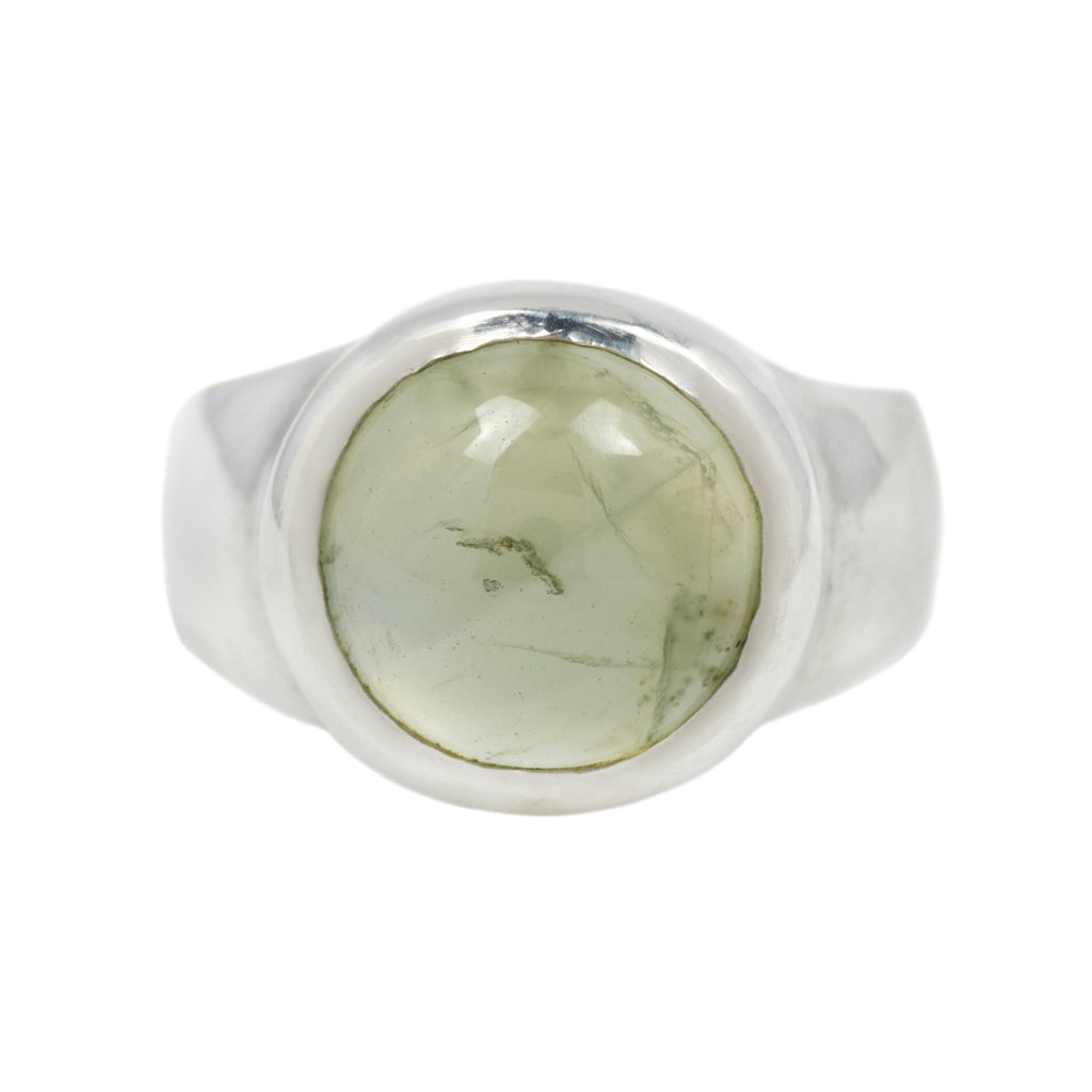 SIZE 6.75 - RISE RING - STERLING SILVER/PREHNITE