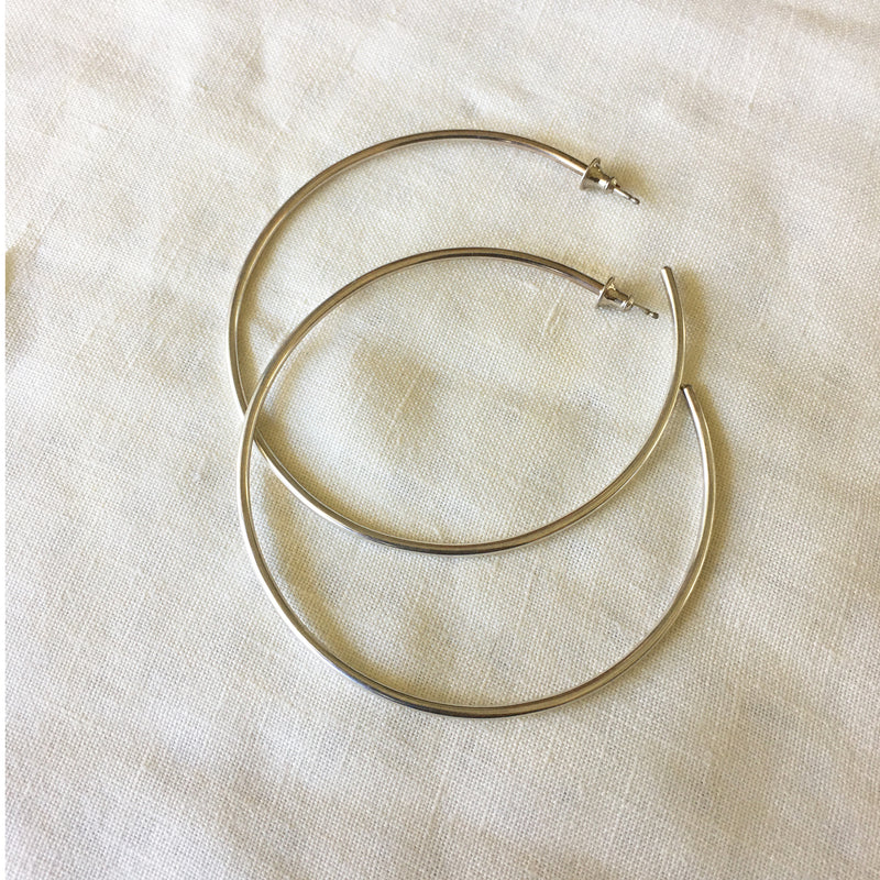 SECONDS SILVER ANGELA HOOPS LARGE