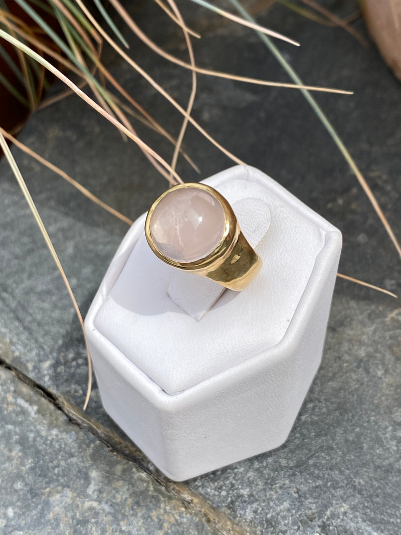 RISE RING - BRASS/ROSE QUARTZ - READY TO SHIP