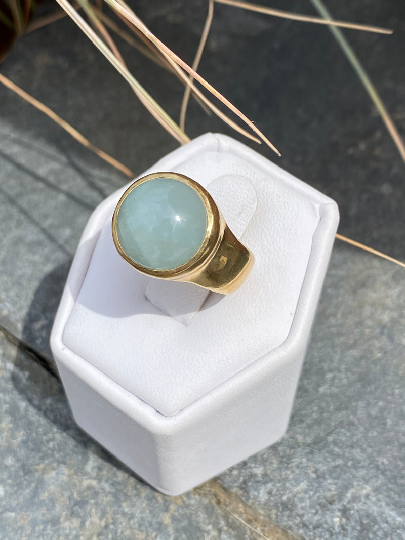 RISE RING - BRASS/AQUAMARINE - READY TO SHIP