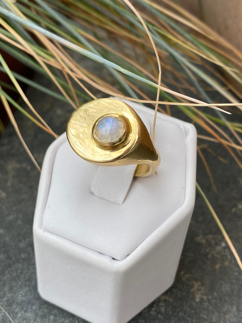 STRAND RING - BRASS/MOONSTONE - READY TO SHIP