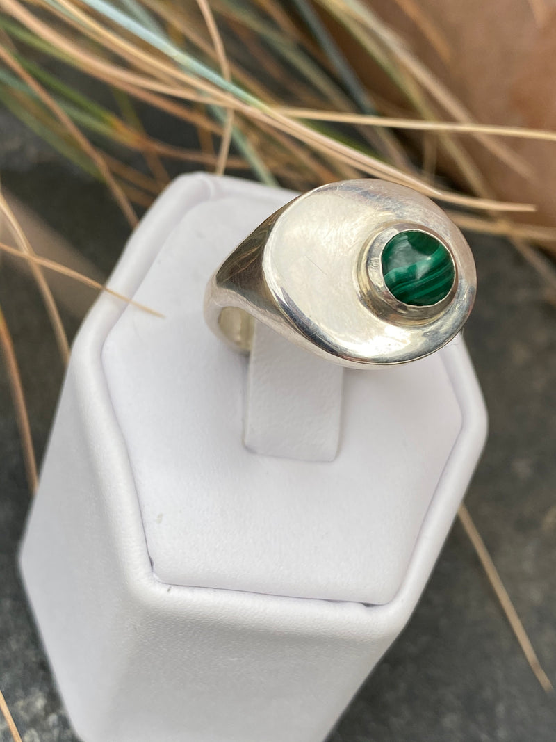 STRAND RING - STERLING SILVER/MALACHITE - READY TO SHIP