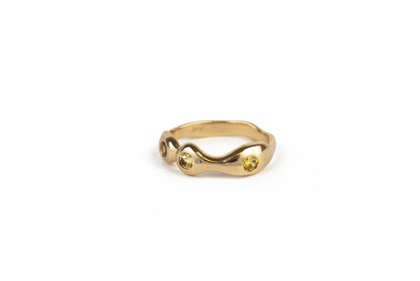 WAVE RING - 14K Gold & Yellow Sapphires