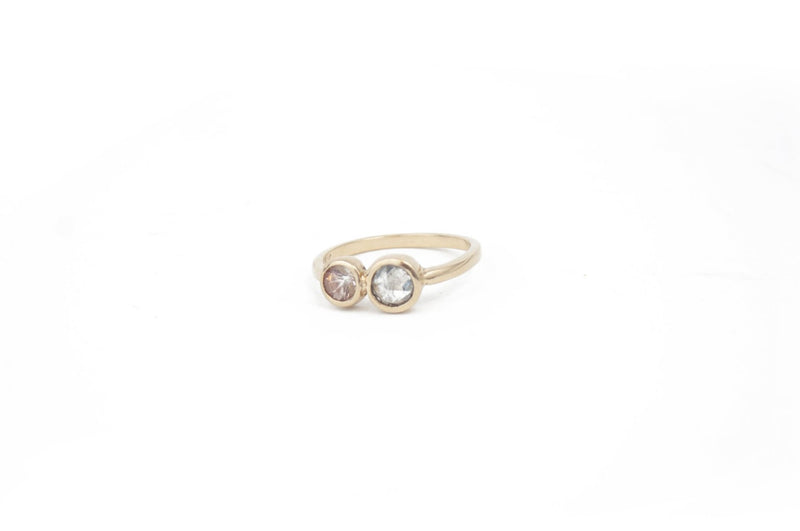 Gray Diamond, Oregon Sunstone & 14K Gold Ring