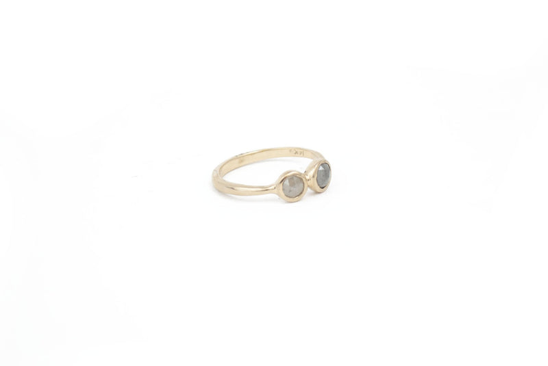 Double Gray Diamond 14K Gold Ring