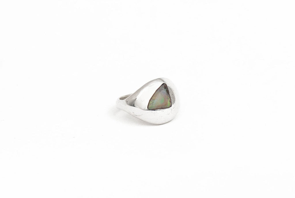 SILVER MODERNIST RING WITH BOULDER OPAL