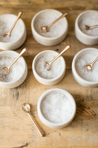 BRASS SALT SPOON AND CERAMIC CELLAR