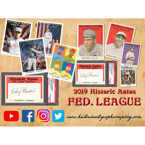 LAST NAME LETTER BREAK: 2019 Historic Autographs Fed League Baseball ID 19FED105