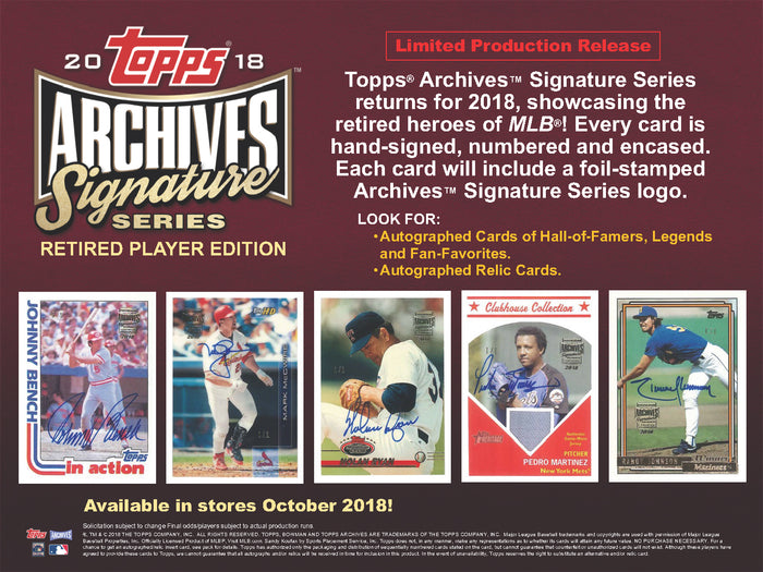 PLAYER CHECKLIST BREAK: 2018 Topps Archives Siganture Series Retired Player Edition 18TPSARCHSEP102