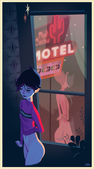 Red Cactus Motel by Glen Brogan Limited Edition Print ID REDCACTUS101