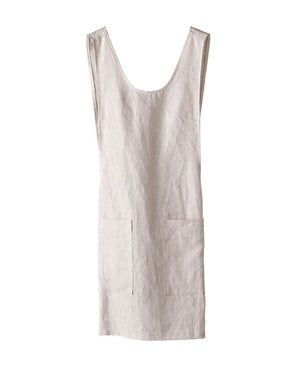 Linen Cross Back Apron, Natural - HUNDRED ACRE STUDIOS