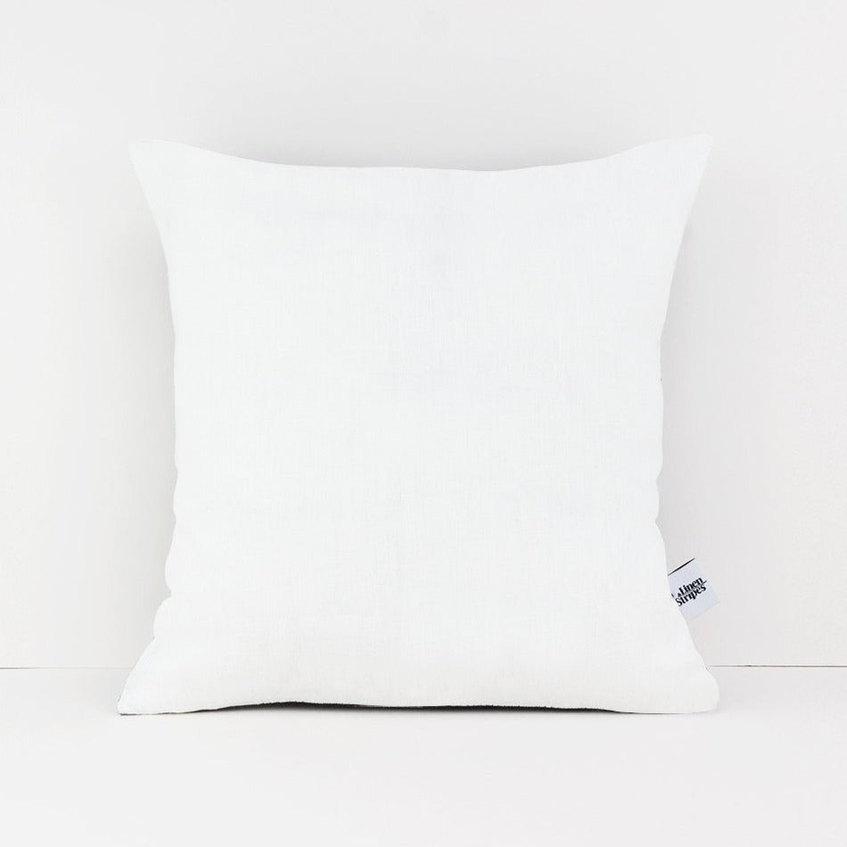 Square white linen cushion cover