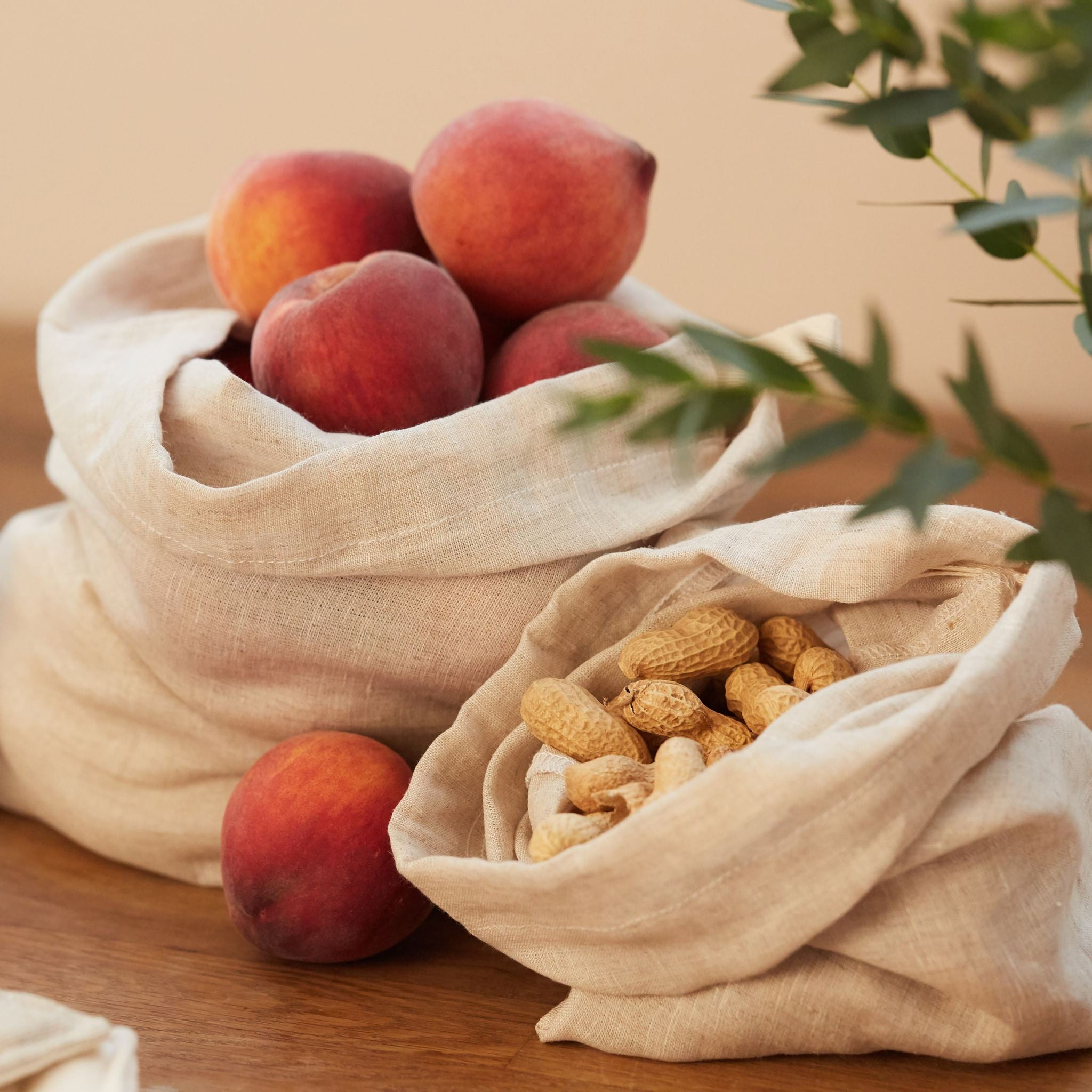 Irish Linen Produce Bags, Natural