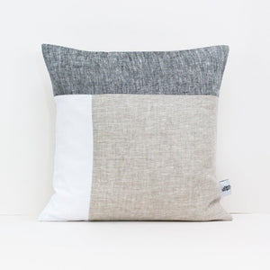 Square, geometric colour block cushion in beige, grey and white linen