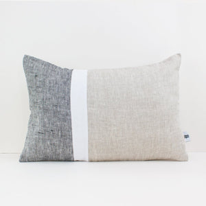 Colour block linen lumber cushion in grey, beige and white