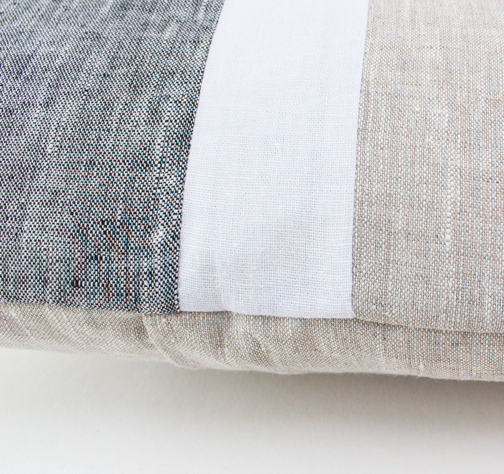 White linen stripe with grey and beige fabric