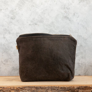 Medium Waxed Canvas Wash Bag, Slate - HUNDRED ACRE STUDIOS