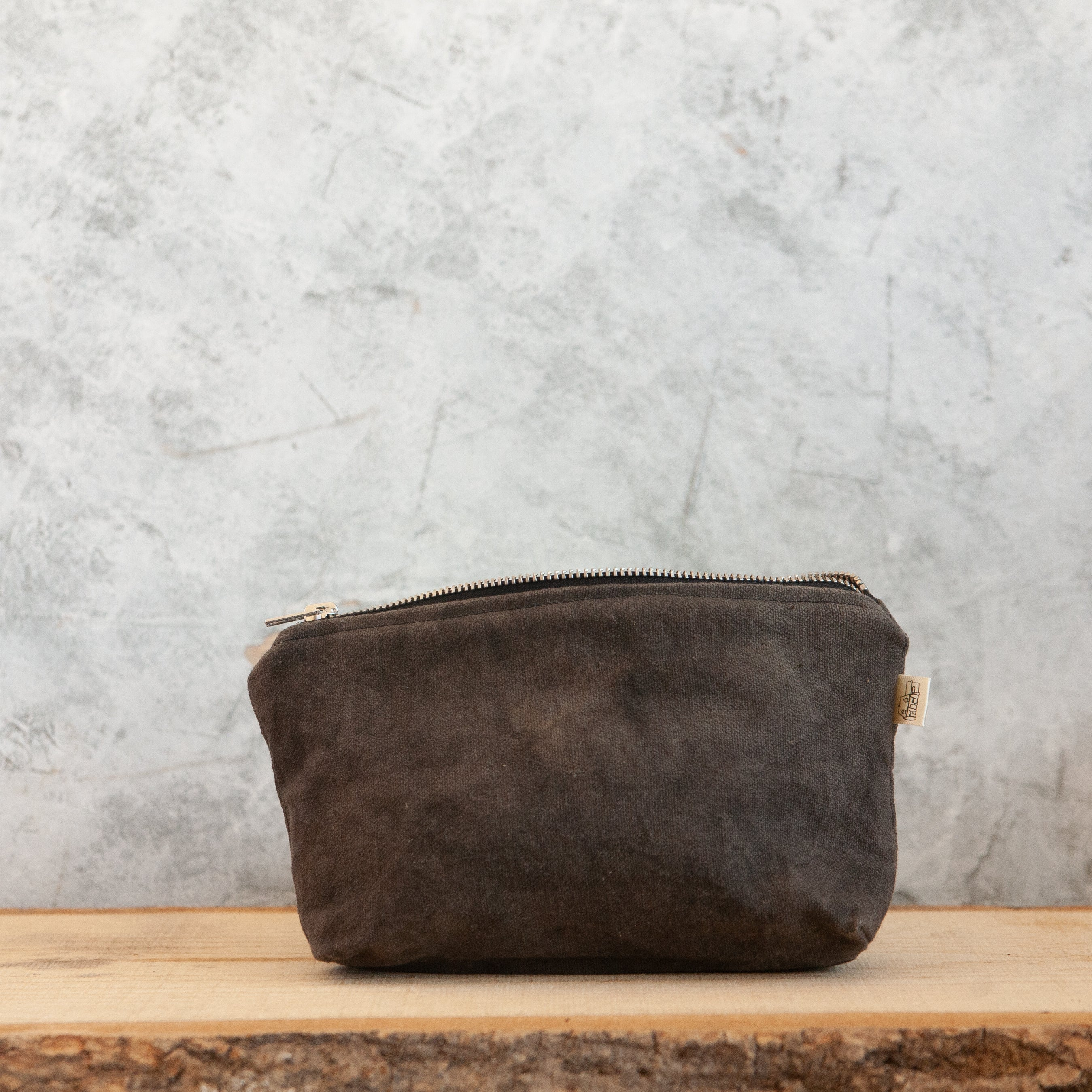 Small Waxed Canvas Wash Bag, Slate