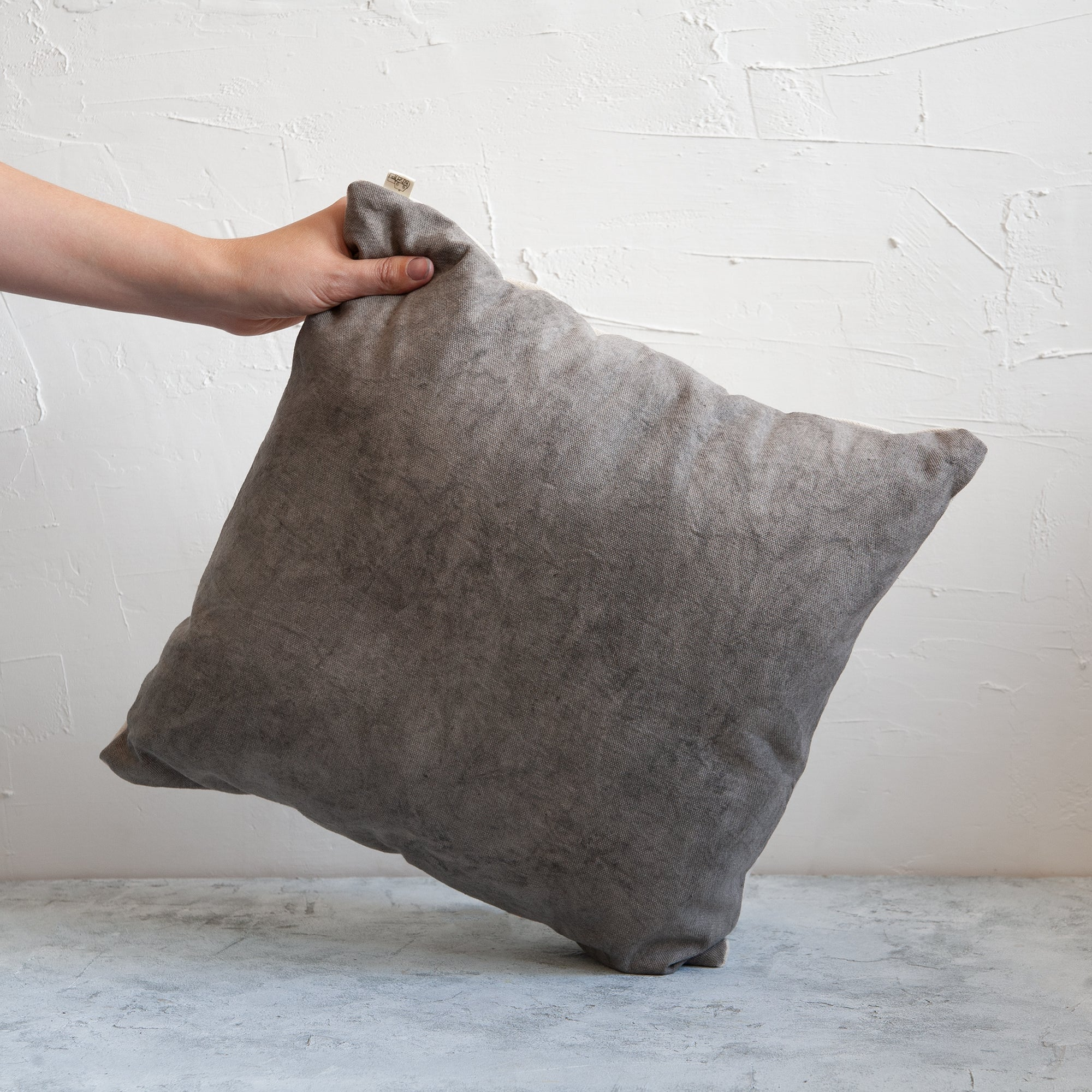 Eco friendly, botanically dyed cushion in grey