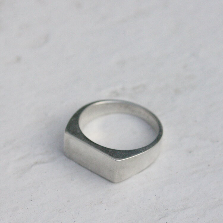 Silver signet ring made from recycled silver