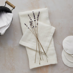 Organic cotton and bamboo face cloths with lavender bunch