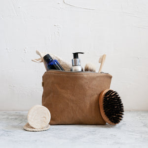 Medium Waxed Canvas Wash Bag, Ochre - HUNDRED ACRE STUDIOS