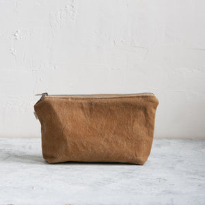 Small Waxed Canvas Wash Bag, Ochre - HUNDRED ACRE STUDIOS