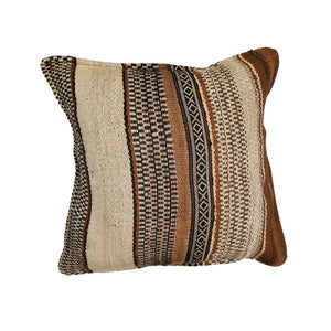 Ethically made alpaca wool cushion with handwoven Peruvian pattern in brown, camel and beige
