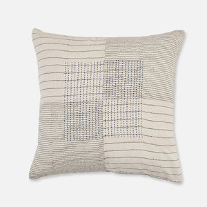 Cream organic cotton cushion with black and blue kantha stitching