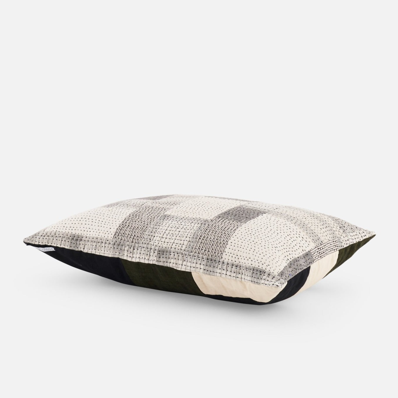 Organic cotton patchwork lumber cushion with Kantha stitch detailing