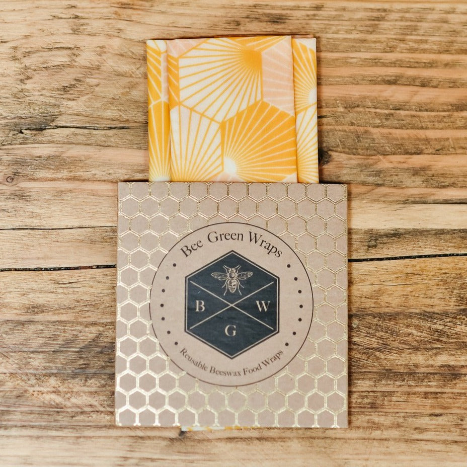 Organic Beeswax Wrap Lunch Set, Hexagonal