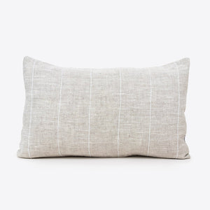 Beige linen lumbar cushion with vertical white stripe