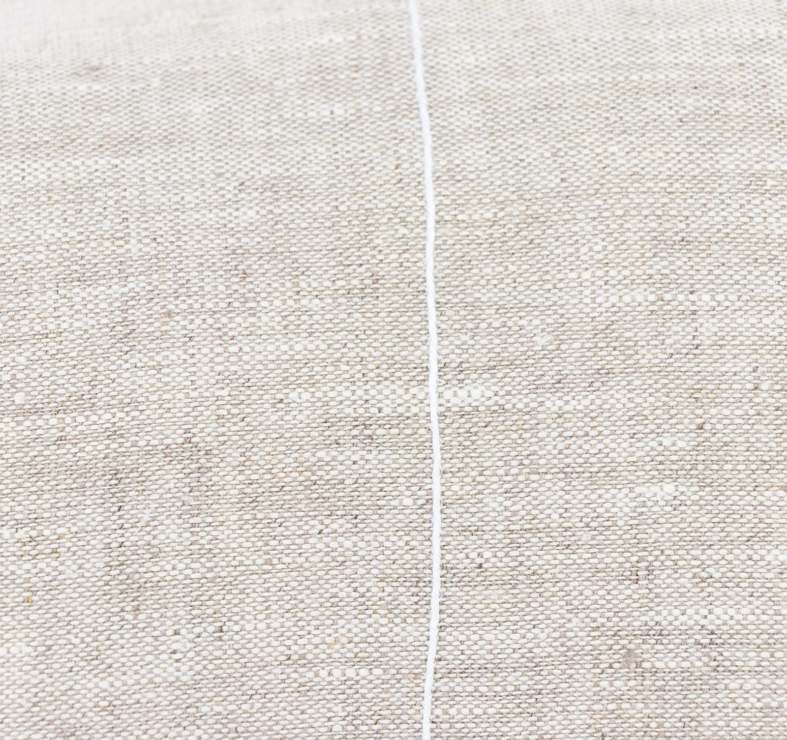 Embroidered white stripe on handmade linen cushion cover