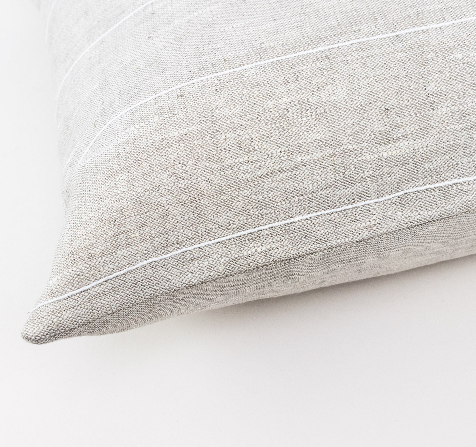 Linen Cushion Cover, White Stripe