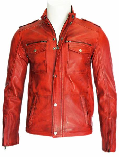 Mens Fashion Real Lambskin Red Wax Leather Jacket All Size
