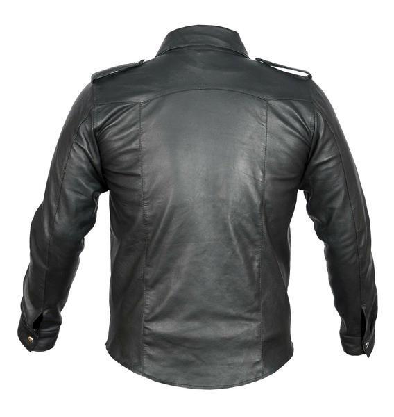 Mens Genuine Hot Real Black Lambskin Leather Police Uniform Shirt Gay BLUF