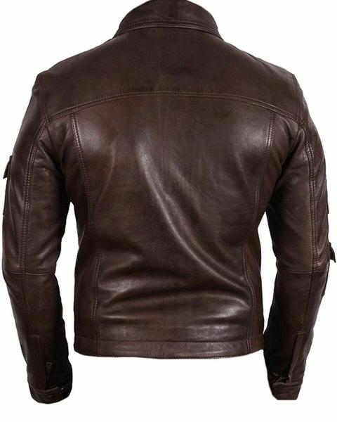 Men's Fashion Real Lambskin Leather stylish Moto Jacket All Size